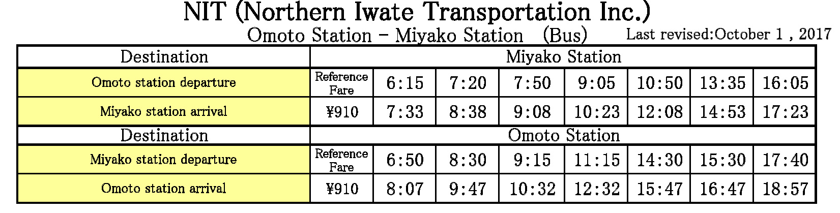 Timetable(Last revised:March 17,2018)